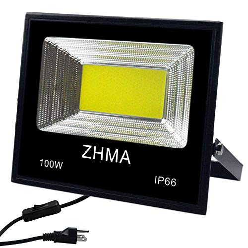 ZHMA 100W LED Flood Light Outdoor with Plug,9000lm Super Bright LED Work Light,White Light,IP66 Waterproof Spotlight Outdoor Landscape Floodlight for Yard,Garage,Garden,Basketball Court