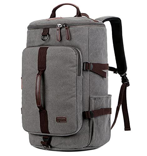 BAOSHA Canvas Weekender Travel Duffel Backpack Hybrid Hiking Rucksack Laptop Backpack for Outdoor Sports Gym HB-26(Grey)