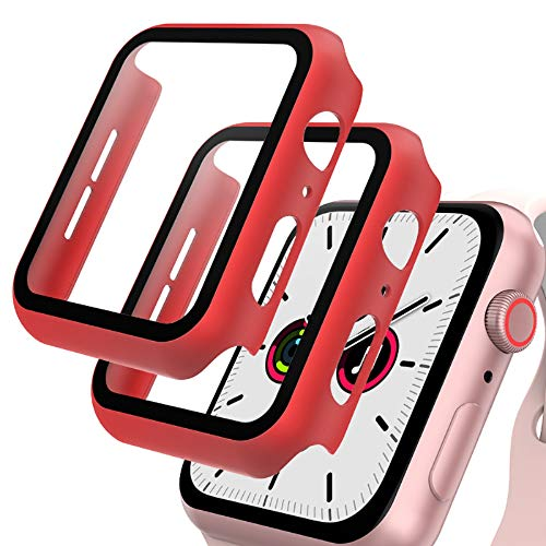 GeeRic 2PCS Pellicola Vetro Temperato Compatibile per Apple Watch 42mm Serie 3/2/1 HD Cover Resistente Urti Pellicola Copertura Completa Custodia Compatibile per Apple Watch 42mm Serie 1/2/3 Rosso