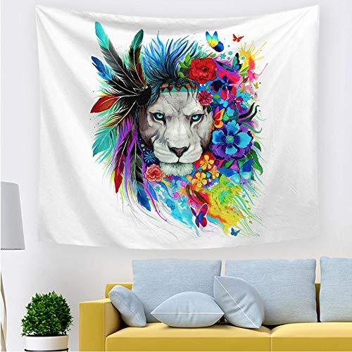 ZZFJFQ Tapiz Mandala Étnico León de plumas Grande, Multiuso Toalla de Playa Gigante Cubre Sofá Cama Telas para Decoración de Pared Tamaño : 150 cm x 200 cm