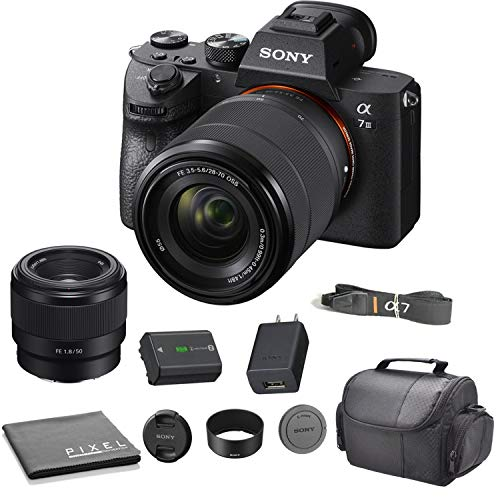 Sony Alpha a7 III Full-Frame Mirrorless Interchangeable Lens Digital Camera with 28-70mm Lens Bundle with Sony SEL 50mm f/1.8 E Mount Lens