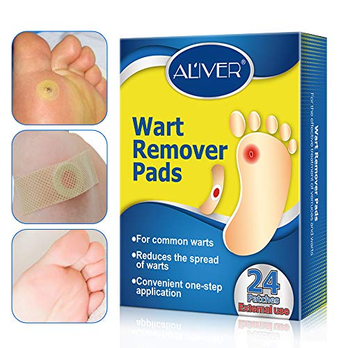 Wart Remover, Corn Remover Pads, Foot Corn Removal Plaster with Hole, Professional Removes Common and Plantar Warts, Callus, Soften Skin Cutin Sticker Cure Toe Protector,Stops Wart Regrowth 24 Pcs/Box