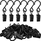 AMZSEVEN Stainless Steel S Hooks Curtain Clips, 50 Pack Hanging Party Lights Clips, Hangers Gutter Photo Camping Tents, Art Craft Display, Garden Courtyards Decoration, 2.4 Inch Long Black
