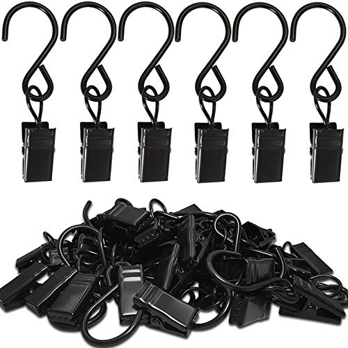 AMZSEVEN Stainless Steel S Hooks Curtain Clips, 50 Pack Hanging Party Lights Clips, Hangers Gutter Photo Camping Tents, Art Craft Display, Garden Courtyards Indoor Outdoor Decoration. (Black)