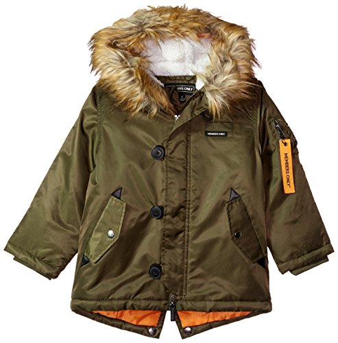Members Only Boys' Big Heavy Weight Flight Satin Fishtail Parka, Army Green, 8