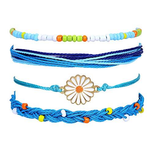 Pulsera cuerda trenzada 4 piezas Pulsera de la amistad con ajustable cuerda trenzada para Festival playa accesorios