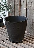 Chic Antique | Gummikorb Gummitopf Schwarz H 18 cm D 19 cm Rund Übertopf Pflanztopf | aus recycelten Autoreifen
