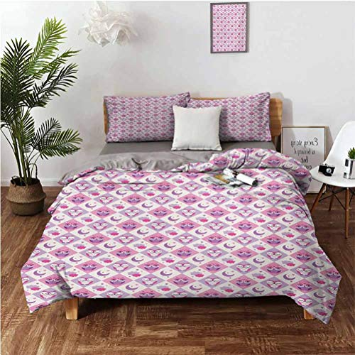 Baby Stylish and Exquisite Home Decoration Design 3 Piece Set Rectangle Diamond Pattern with Funny Owls Sleeping Moons Stars and Clouds Abstract Suitable for Any Bedroom or Guest Room Full (Double) 8