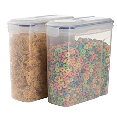 Premium Dry Food & Cereal Container Set - 2 x Plastic Storage 4L (135.2 Oz) Containers - Airtight Seal Lid - Suitable For Cereal, Flour, Sugar, Coffee, Rice, Nuts, Snacks, Pet Food & More (2)