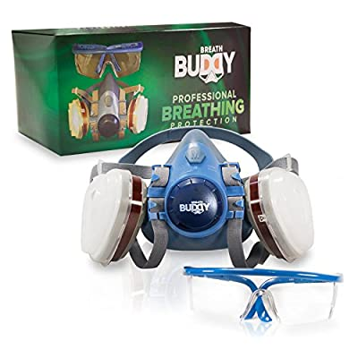 Breath Buddy Respirator Mask (Plus Safety Glasses) Reusable Professional Breathing Protection Against Dust, Pollen, Pesticides, and Organic Vapors - Perfect For Painters and DIY Projects from Minor Miracle Home Solutions