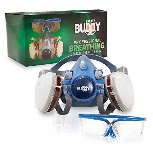 Breath Buddy Respirator Mask (Plus Safety Glasses) Reusable Professional Breathing