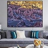 YHZSML Poster Wall Art Canvas Painting Valley Desert Sunset Wall Pictures para la Sala de Estar Decoración del hogar Imágenes sin Marco 60x80cm