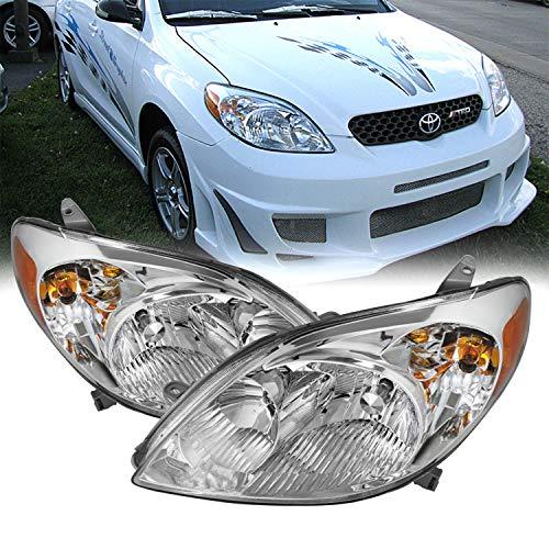 Fits 2003-2008 Toyota Matrix Wagon 4Door Chrome Headlights Pair Left Driver+Right Passenger Replacement