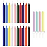 Taper Spell Candles 20 Pcs with Birthday Candle Bonus, Assorted Colors, Use for Casting Chimes,Spells, Rituals, Healing, Magical Work,Wax Play and Parties.
