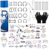 BodyJ4You 156PC Body Piercing Kit Spray 14G 16G Belly Ring Tragus RANDOM Mix Jewelry