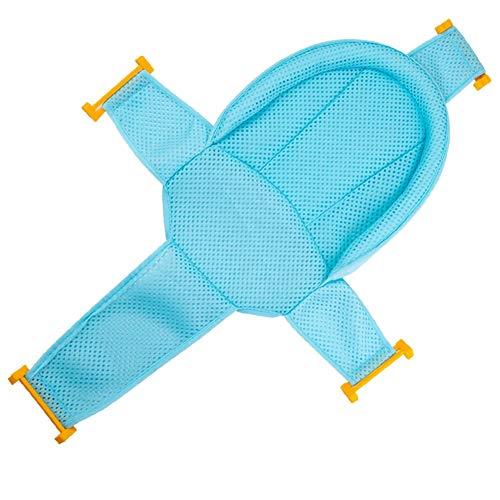 Asiento de baño para bebé con cuatro esquinas de apoyo de seguridad, cómoda bañera de ducha de bebé, malla para recién nacido, Azul