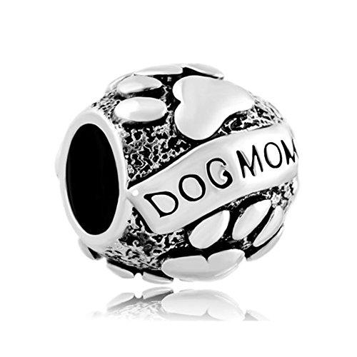 LovelyJewelry - Ciondolo a forma di zampe di cane e mamma su cucciolo di animale