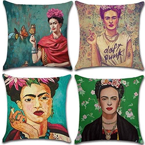 Adecuado para Frida Kahlo funda de almohada de estilo mexicano con autorretrato, 4 piezas, funda de cojín de lino de algodón, funda de almohada, decoración de coche familiar, 45 cm x 45 cm