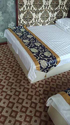 YYSWIM sänglöpare scarf säng flagga stjärna hotell, bröllop rum sängflagga, sänghandduk, bred tygdekoration på sängen, flickors lyx & blå pionblomma med vassa hörn @ 1,5 m säng 50 x 210 cm