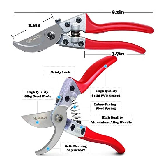 "Hylejhjy 8"" bypass steel pruning shears with stainless sk5 steel blades+straight tip gardening shears garden shears garden clippers florist scissors hand pruners garden tools gardening tools set,red 3 →▲←【premium material and specifications】-the pruning shears are very sharp. Crafted of high carbon steel with ultra-fine polishing technology,which is strong and abrasive resistance, the blades will stay sharp for a long time. Blades material: stainless steel. Handle material: aluminium alloy handle(bypass pruning shears)-stainless steel handle (straight tip gardening shears),package includes:1 x bypass pruning shears,1 x straight tip gardening shears. →▲←【non-slip handle】-our pruning shears feel is good. Ergonomically designed stainless steel handles(straight tip gardening shears) and aluminium alloy handle(bypass pruning shears) fit nicely with your hands and the strong covers ensure maximum cutting comfort and non-slip grip. →▲←【long reach】-with long traight blades, these shears will help you reach stems inside bundles without damaging the other stems and branches, makes picking and trimming a easy task. Sharp blades ensure quick and precision cuts, suitable for sutting stems, light branches of trees, rose bush, shrubs, etc."