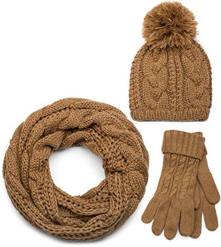 styleBREAKER Schal, Mütze und Handschuh Set, Zopfmuster Strickschal mit Bommelmütze und Handschuhe, Damen 01018208, Farbe::Cognac / Loop Schlauchschal (One Size)