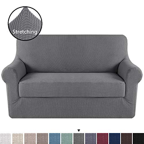 H.VERSAILTEX Loveseat Slipcover 2 Piece Stretch Loveseat Cover Couch Cover|Sofa Cover for Loveseat with Individual Seat Cushion Cover, Feature Small Checked Jacquard (Loveseat 58'-72', Charcoal Gray)
