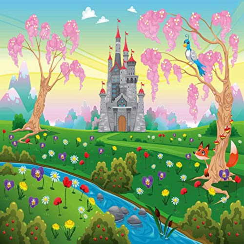 Qoalips Cartoon 5D DIY Diamond Painting Kits for Adults, Fairy Tale Castle Scenery in Floral Garden Princess Kids Girls Fantasy Diamond Painting by Numbers Full Drill, 16x16 Inch Pink Blue