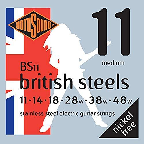 Rotosound BS11 - Juego de cuerdas para guitarra eléctrica de acero inoxidable, 11 14 18 28 38 48