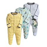 Baby Schlafstrampler 3er Pack Unisex Pyjamas Baumwolle Overalls Strampler mit 6-9 Monate