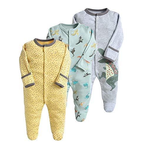 Pyjama pour Bébé Lot de 3 Combinaison en Coton Garçon Fille Grenouillères Manche Longues 3-6 Mois