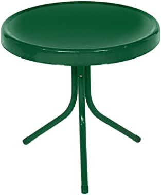Northlight 21.75-Inch Outdoor Retro Metal Tulip Side Table, Forest Green