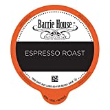 Barrie House Espresso Roast Single Serve Coffee Pods, 96 Pack | Compatible With Keurig K Cup Brewers | Fair Trade Organic Small Batch Artisan Coffee in Convenient Single Cup Capsules
