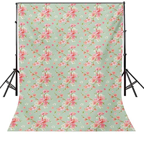 Shabby Chic 4x6 FT Backdrop Photographers,Retro Spring Blossom Flowers with French Garden Florets Garland Artisan Image Background for Child Baby Shower Photo Vinyl Studio Prop Photobooth Photoshoot