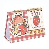 DEF 2021 Lindo Calendario de Escritorio pequeño con Soporte Calendario de Escritorio de Bricolaje con Pegatinas, Calendario de volteo de página multifunción Bloc de Notas (Color : Red)