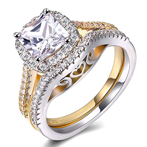 TIVANI-CITY Women's Engagement Rings Set Pretty 18K Gold Plated Two Tone Princess Cut CZ Stones Bridal Ring Heart Arrow Jewelry Promise Ring for Her (7)