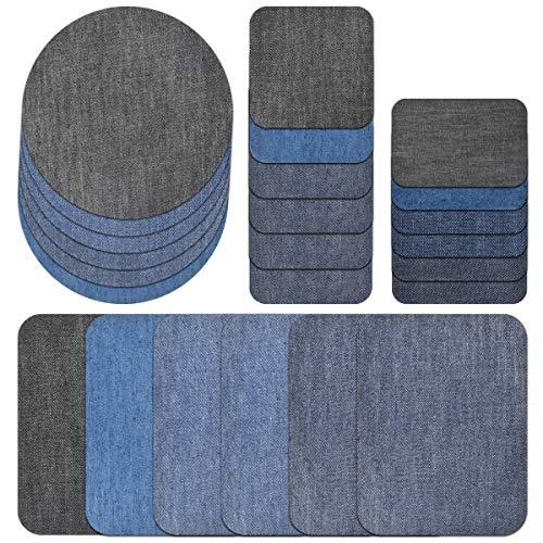 Jinlaili Patches zum Aufbügeln, Flicken zum Aufbügeln, Jeans Bügelflicken für Denimreparatur, Aufbügelflicken Baumwolle Flicken Bügelflicken Bügeleisen Denim Patches Jeans Reparatursatz Set (24PCS)