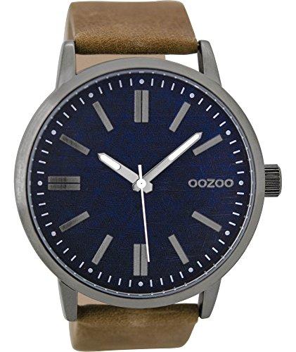 Oozoo Herrenuhr mit Lederband 48 MM Dunkelblau/Braun C9406