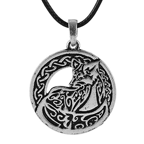 QIANJI Celtic Fox Head Pendant Necklace Ethnic Vintage Fox Necklace Women Men Double Side (Antique Silver)