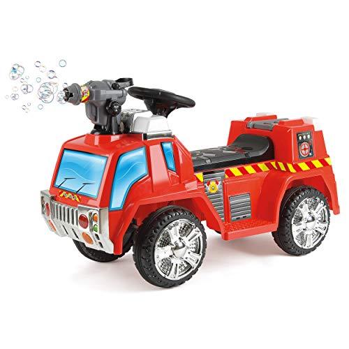 Toyrific elektrisches Kinder-Feuerwehrauto mit Seifenblasenpistole, Lichtern und Sirenen