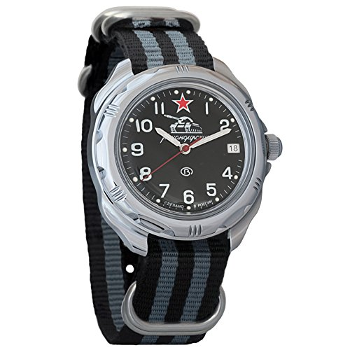 Vostok Komandirskie 2414 Reloj Militar Ruso mecánico de Cuerda Manual // 211306 (Black+Grey)