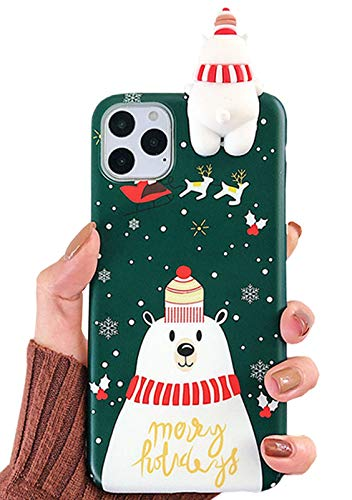 SGVAHY Christmas Case for iPhone X/XS, Fun Cool Cute 3D Cartoon Polar Bear Design Soft Silicone TPU Slim Shockproof Protective Case for iPhone X/XS (Polar Bear, iPhone X/XS  )