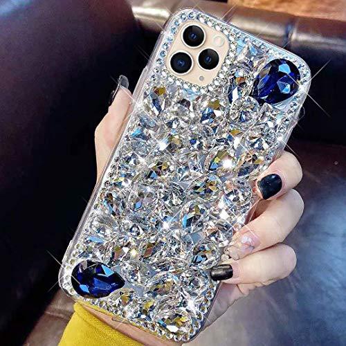 kompatibel mit iPhone 11 Pro Max Hülle,Glänzend Glitzer Bling Strass Handyhülle TPU Silikon Hülle Schutzhülle 3D Handschlaufe Diamant Stoßfest Bumper Case Tasche für iPhone 11 Pro Max,Silber Blau