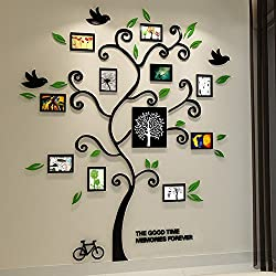 Alicemall Tree Wall Stickers Family Hope Tree of Life Black 3D Wall Decals Photo Frame Acrylic Decorative Wall Sticker Wall Art, 57 x 69 inch (Black)