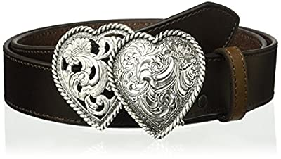 Ariat Women's Strap Two Heart Buckle Belt, brown, Small