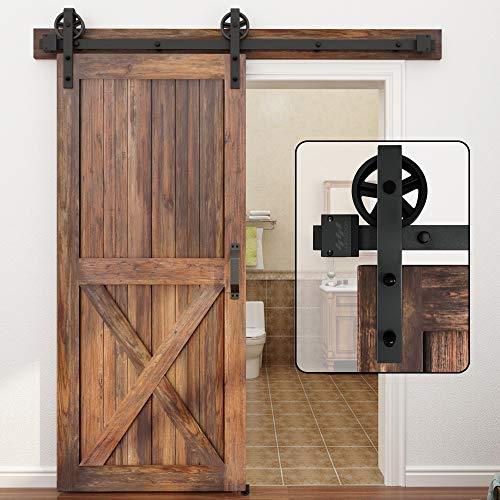 WINSOON 5-16FT Single Wood Sliding Barn Door Hardware Basic Black Big Spoke Wheel Roller Kit Garage Closet Carbon Steel Flat Track System (6.6FT)