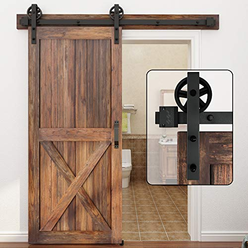 WINSOON 5-16FT Single Wood Sliding Barn Door Hardware Basic Black Big Spoke Wheel Roller Kit Garage Closet Carbon Steel Flat Track System (7.5FT)