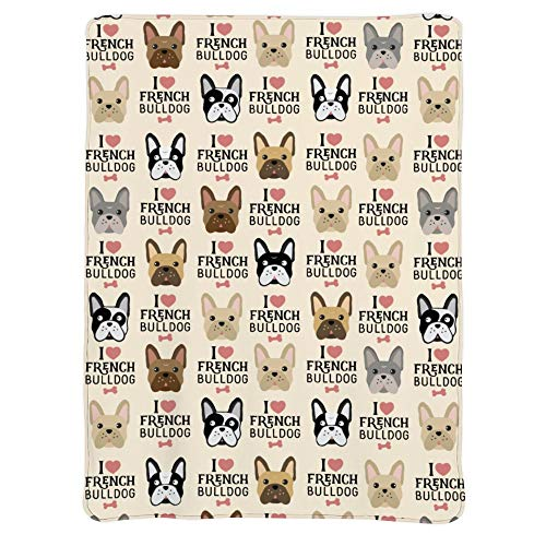 JASMODER Throw Blanket I Love French Bulldog Soft Microfiber Lightweight Cozy Warm Blankets for Couch Bedroom Living Room