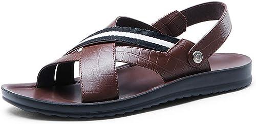 Sandales Chaussures de Sport de Plage en Cuir de Marche pour Hommes Chaussures antidérapantes résistantes à l'usure Deux vêteHommests andales de Marche