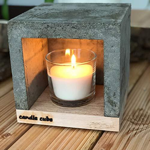 candle cube© Kleiner Teelicht Tisch-Kamin Ofen Stövchen Kerzen-Heizung Teelichtofen Heizwürfel mit Duftkerze Vanilla Dream