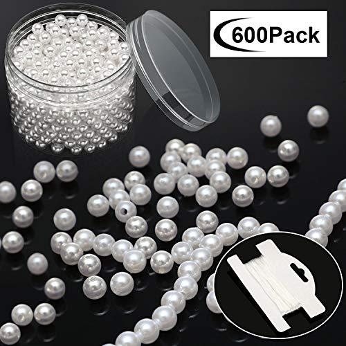 Yaomiao 600 Pezzi Arte Finte Perle 8 mm Perle con Fori Bianchi Perle Rotonde con 10 m Corda Stretch in Scatola di Plastica